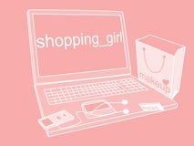 Menina de compra Imagens de Stock