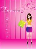 Menina de compra com saco shoping Imagem de Stock