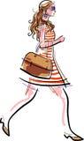 Menina de compra denominada ilustração do vetor