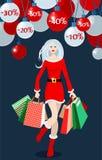 Menina de compra do Natal Foto de Stock