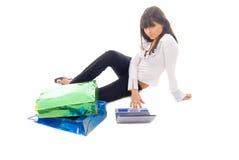 Menina de compra em linha Imagem de Stock