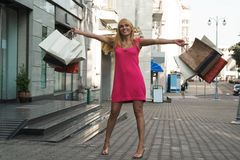 Menina de compra feliz Foto de Stock