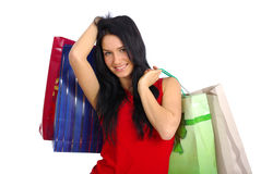 Menina de compra feliz Fotos de Stock Royalty Free