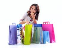 Menina de compra feliz Imagens de Stock