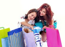 Menina de compra feliz fotografia de stock royalty free