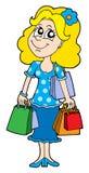 Menina de compra loura Imagem de Stock