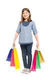 Menina de compra nova e alegre Imagem de Stock Royalty Free