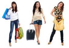 Menina de compra pequena do grupo Imagem de Stock Royalty Free