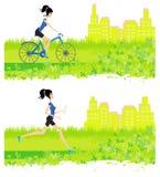 Menina de corrida e de ciclagem Foto de Stock