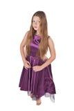 Menina de dança no vestido violeta Fotografia de Stock Royalty Free
