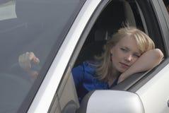 Menina de descanso após a condução Fotos de Stock