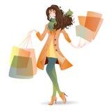 Menina de dia da compra na mola Fotos de Stock Royalty Free