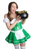 Menina de dia do St Patrick imagem de stock royalty free