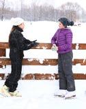 Menina de dois adolescentes na pista de gelo Imagens de Stock Royalty Free