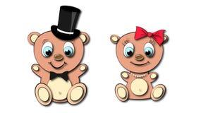 Menina de dois bonitos, ursos bonitos, marrons e menino com cabeça e olhos azuis grandes em uma colar do cilindro e do laço, da c ilustração stock