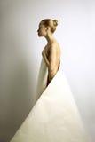 Menina de Elegante com vestido de papel imagens de stock