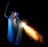Menina de Elven com espada fotos de stock royalty free