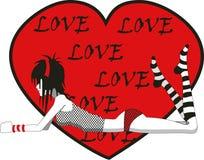 Menina de Emo com coração do amor Fotografia de Stock Royalty Free