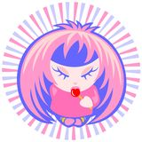 Menina de Emo com doces Foto de Stock Royalty Free