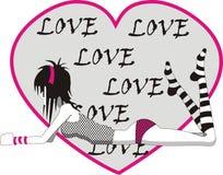 Menina de Emo no amor Imagens de Stock Royalty Free