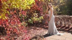 Menina de encantamento em um vestido de nivelamento que levanta para a câmera no parque bonito do outono vídeos de arquivo