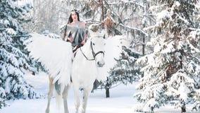 A menina de encantamento senta-se montado no cavalo branco magnífico com asas Princesa de cabelo escuro fabulosa em pegasus no in vídeos de arquivo