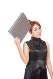 A menina de escritório asiática está pensando e esteja no humor mau Fotografia de Stock