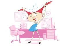 Menina de escritório frustrante ilustração royalty free
