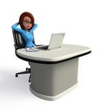 Menina de escritório com portátil Imagens de Stock Royalty Free
