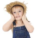 Menina de exploração agrícola surpreendida Fotografia de Stock
