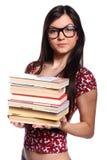 Menina de faculdade com livros imagens de stock