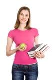 Menina de faculdade com livros; isolado no branco Fotografia de Stock