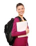 Menina de faculdade feliz fotografia de stock