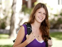 Menina de faculdade feliz Fotos de Stock
