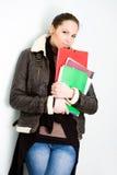 Menina de faculdade triguenha nova confiável. fotos de stock royalty free