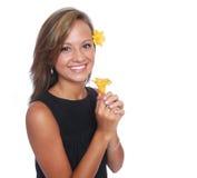 Menina de flor de sorriso Foto de Stock Royalty Free