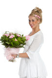 Menina de flor feliz Imagens de Stock Royalty Free