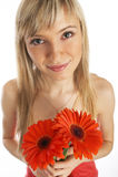 Menina de Glamor em um vestido alaranjado imagem de stock royalty free