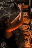 Menina de Goth tethered com cintas Imagens de Stock