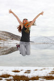 Menina de Jamping Imagem de Stock