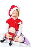 Menina de jogo feliz de Santa Imagem de Stock