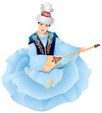 Menina de Kazakhstan com Dombra Ilustração Royalty Free