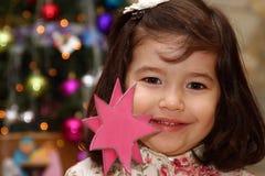Menina de Litlle no Natal Foto de Stock