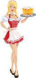 Menina de Oktoberfest com a bandeja de cerveja Imagens de Stock