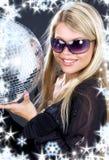 Menina de partido com esfera do disco Foto de Stock Royalty Free