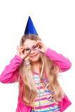 Menina de partido com flâmulas fotos de stock royalty free