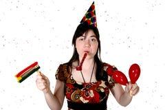 Menina de partido do Confetti fotografia de stock
