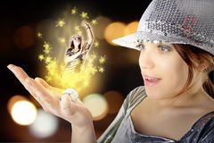 Menina de partido mágica Imagens de Stock Royalty Free