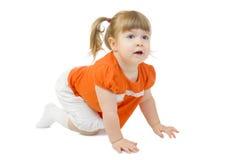 A menina de rastejamento pequena isolou-se Imagens de Stock
