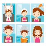 Menina de relaxamento no grupo do cabeleireiro ilustração royalty free
